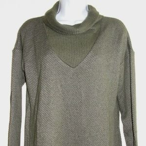 Sanctuary Dunaway Olive Green Crowl Neck Sweater